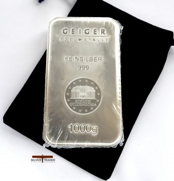 Geiger 1 kiloGram 999 Security Line Silver Bullion bar