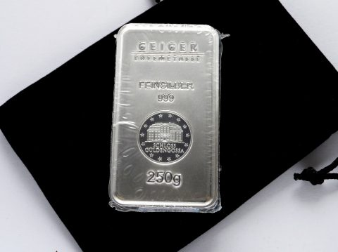 Geiger 250 Gram 999 Security Line Silver Bullion bar