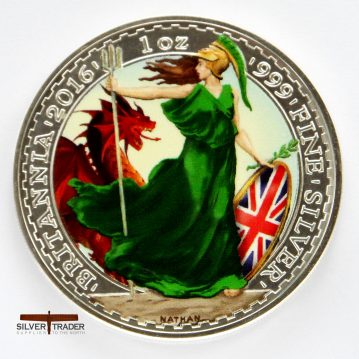 2016 Britannia Welsh Dragon coloured Silver bullion coin