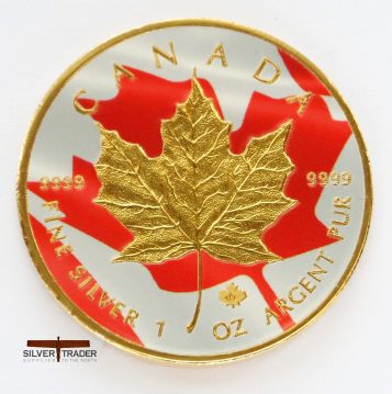 2016 Canadian Maple Dbl sided FLAG coloured and gold gilded silver bullion coin