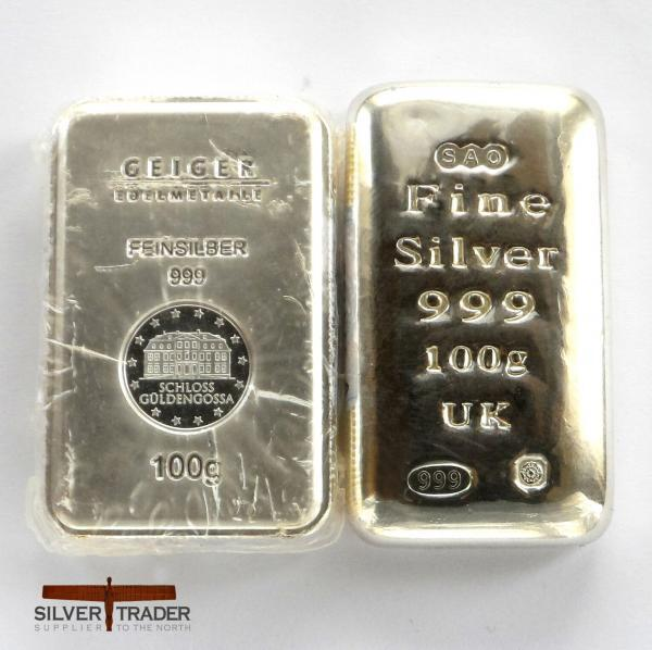 Second Grade 100g Silver Bullion Bars with slight scratches or dents