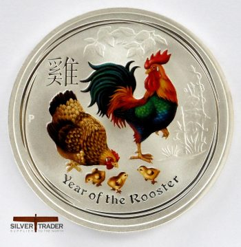 2017 Australian year of the Rooster coloured 1 ounce bullion coin