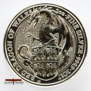 2017 Welsh Red Dragon Queens Beasts 2 ounce bullion Coin