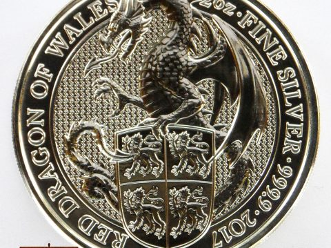 2017 Queens Beasts 2 oz Welsh Red Dragon Silver Bullion Coin