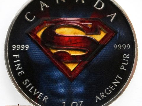 2016 Canadian Superman Shield coloured 1 ounce Silver bullion Coin