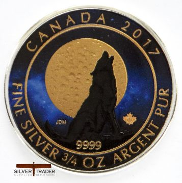2017 Canadian Howling Wolf coloured & Gold Gilded 23 gram Silver Coin
