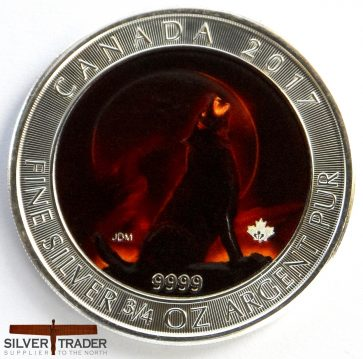 2017 Canadian Demon Howling Wolf coloured 23 gram Silver Coin