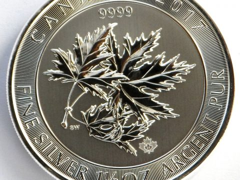 2017 Canadian Multileaf Maple 46 gram Silver bullion Coin