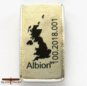 2018 Albion 100 Gram Sheffield Hallmarked Matte Finish Silver Bullion Bar