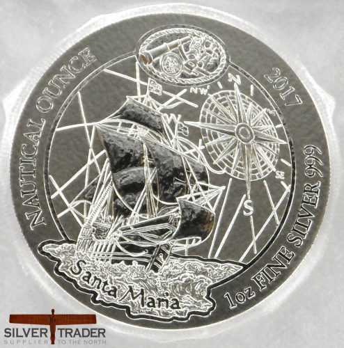 2017 Rwanda Nautical Series 1 oz Santa Maria Silver Bullion Coin