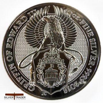 2018 Queens Beasts 10 oz Griffin Silver Bullion Coin