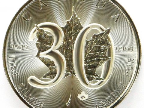 2018 Canadian 30th Anniversary Maple Leaf 1oz Silver Bullion Coin