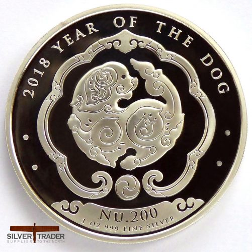 2018 Bhutan Lunar Dog 1 oz Silver Bullion Coin