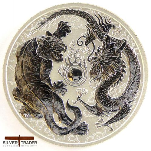 2018 Australian Tiger and Dragon 1 oz Silver Bullion Coin