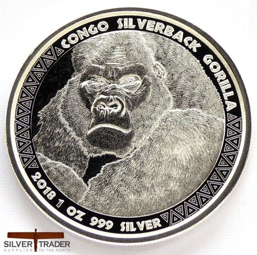 2018 Rep of Congo Silverback Gorilla 1oz Silver Bullion Coin
