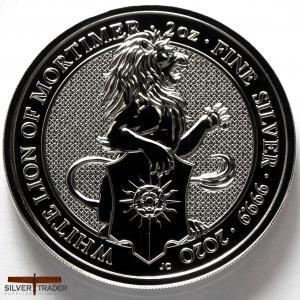 2020 Queens Beasts White Lion of Mortimer 2oz Silver Bullion Coin