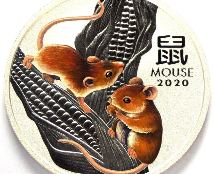 2020 Australian Coloured year of the Mouse 1oz Silver Bullion Coin