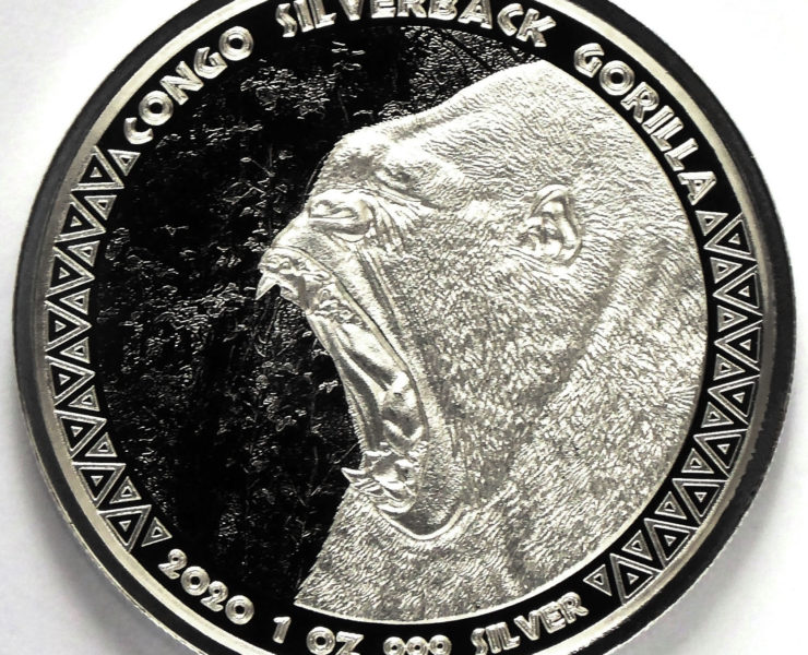 2020 Rep of Congo Silverback Gorilla 1oz Silver Bullion Coin