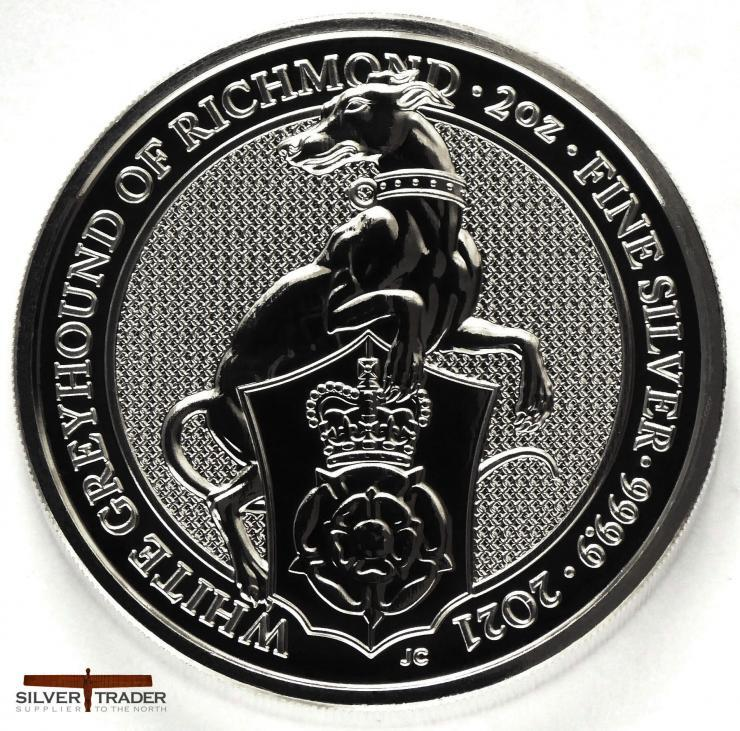 2021 Queens Beasts White Greyhound 2oz Silver Bullion Coin