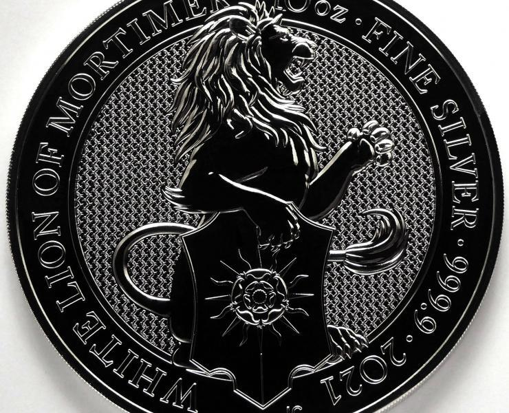 2021 Queens Beasts White Lion of Mortimer 10oz Silver Bullion Coin