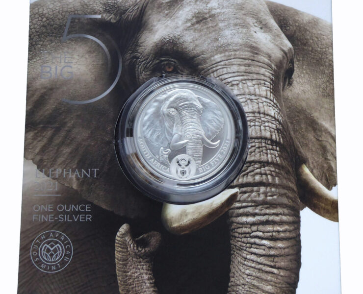 2021 South African Elephant Big Five Series2 1oz Silver Bullion Coin